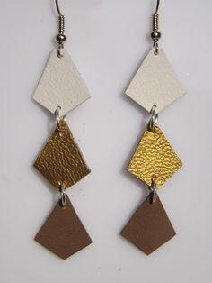 """boucles d'oreilles cuir """"sidney"""" ,forme diamant, blanc doré marron, bijoux réalisés à la main : Boucles d'oreille par fimoettout-image"""
