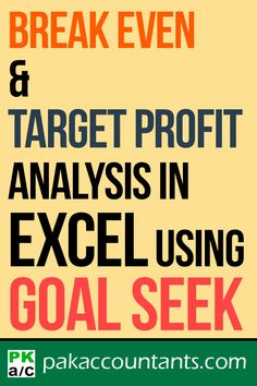 Break-even and target profit analysis in Excel using Goal Seek Free Excel tutorials, tips and tricks Microsoft Excel Formulas, Excel Hacks, Data Analytics, Simple Words, Resume Tips, Pinterest Marketing, Good To Know, Videos, Goals