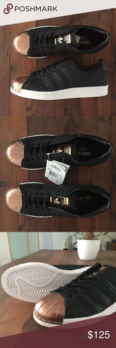 Adidas Originals Superstar 80s Metal Toe Rose Gold New with box: A brand-new, unused, and unworn Adidas Originals black metallic Superstar sneakers with Rose Gold Toe Cap. Size: 7.5 US adidas Shoes Sneakers