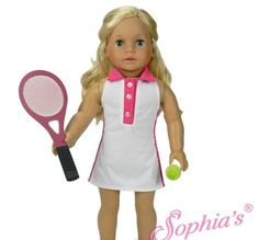 Tennis Outfit - clothes for American Girl® and other 18 inch dolls - dress, racket and ball