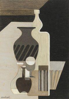 Amédée Ozenfant, Still Life with Bottles, Still Life Drawing, Still Life Art, Catalogue Raisonne, Deco Paint, Collage Techniques, Life Paint, Object Drawing, Le Corbusier, Summer Painting