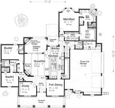 country style house plans 2602 square foot home 1 story 3 bedroom and - Home Plan Designer