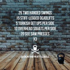 ⚫ Here's a simple kettlebell workout to keep you moving over the long-weekend: 25 Two handed swings 15 Stiff-legged deadlifts 5 Turkish get ups Per SIde 10 Overhead squats per side 20 See saw presses