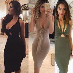 Price tracker and history of 2017 Sexy Women Dress Plunge deep V Neck  Sleeveless Lace Up Bodycon Bandage Dress Midi Clubwear Party black Dresses  Vestidos