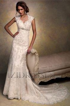 Sheath/Column V-neck High Neck Lace Wedding Dress - IZIDRESSES.com