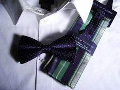 Tommy Hilfiger Blue Bow Tie with White Polka Dots and Blue/Green Check Pocket Square $48.00