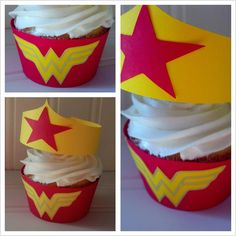 Wonder Woman inspired cupcake wrappers and crown toppers