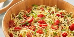 """The dish, """"Randy's Lemon Capellini,"""" is simple to make, and was a big hit at a recent potluck lunch at his home-away-from-home, Kleinfelds. Pasta Recipes, Salad Recipes, Vegan Recipes, Dinner Recipes, Cooking Recipes, Noodle Recipes, Chef Recipes, Vegan Foods, What's Cooking"""