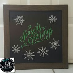 Chalk Couture - Using a chalkboard from the office to start the season with a little fun.  Snowflakes & Christmas Greetings {Chalk Transfer} #chalkcouture