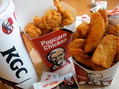 Popcorn chicken and potato fries from KFC