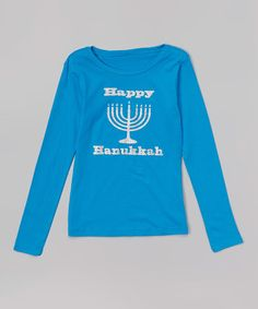 This Blue 'Happy Hanukkah' Tee - Toddler & Girls by Beary Basics is perfect! #zulilyfinds