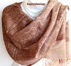 Pashmina Scarf.Beige and Brown Pashmina/Shawl/ by HappyIdeology