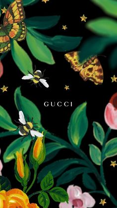 #gucci #wallpaper #bees #yellowaesthetic #butterfly