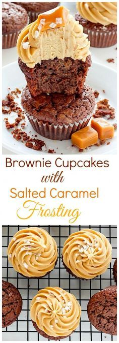 Dark Chocolate Brownie Cupcakes with Salted Caramel Frosting - these cupcakes are a dream come true for chocolate and caramel lovers!