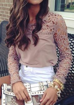 Khaki Patchwork Lace Hollow-out Loose-fitting Sweet Fashion Blouse