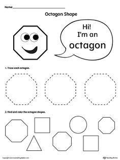 **FREE** Trace and Color Octagon Shapes Worksheet. Introduce your child to the octagon shape with this simple tracing and coloring octagon shapes worksheet.