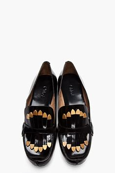 CHLOE Black Patent Leather Metal-Tipped Tassel Loafers