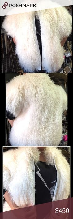 Tibetan shaggy curly fur lamb coat Comes with leather sleeves excellent condition Jackets & Coats