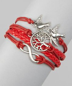 Red Tree of Life Cord Bracelet
