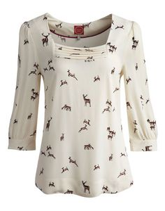 Joules null Womens Woven Top, Regal Stag Porcelain.                     When it comes to this shirt, the detail is in the fine prints. Pick your favourite and stand out from the crowd this season. Crafted in lightweight fabric and finished with a square neck and ¾ length sleeves. A great way to show your love of the British c