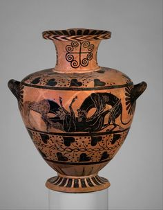 Terracotta hydria (water jar) Attributed to the Eagle Painter   Period:     Archaic Date:     ca. 520–510 B.C. Culture:     Greek, Caeretan