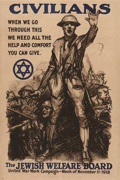 national JEWISH WELFARE BOARD WWI war enlistment poster HISTORIC 24X36 rare