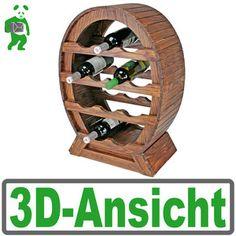 Wein-Regal aus Holz, Wein-Fass Flaschenregal für 12 Flaschen, antikes Design
