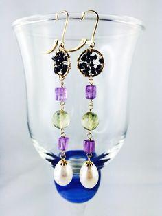 Pretty Earring with Black Diamond Pearl Earrings, Drop Earrings, Black Diamond, Collections, Pearls, Pretty, Jewelry, Fashion, Moda