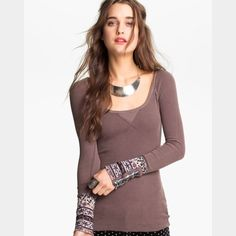 Free People Hyperactive Thermal Gorgeous, hyperactive cuff thermal from Free People  This is the taupe colored thermal, and it is in mint condition! The color combinations in the cuffs are just amazing! These thermals are so versatile! Free People Tops
