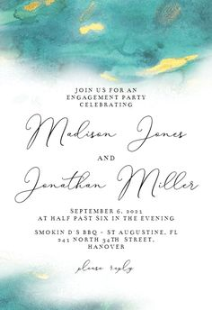 Abstract Watercolor - Engagement Party Invitation #invitations #printable #diy #template #Engagement #party #wedding Engagement Party Invitations, Abstract Watercolor, Party Wedding, Wedding Engagement, Template, Printable, Messages, Island, Diy