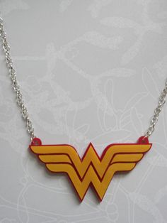 Wonder Woman Logo Double Layer Red and Yellow Acrylic Necklace £11.00