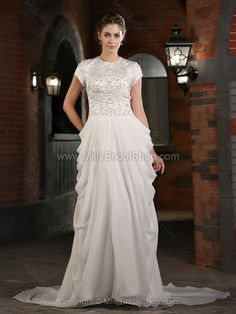 Sheath/Column Scoop Chiffon Satin Sweep Train Embroidery Wedding Dresses -$279.99