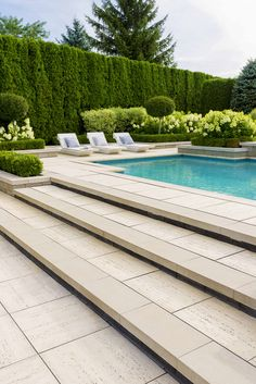 Seeking the luxury look of Travertine stone for your Patio Slabs? Check out Travertina Raw Slabs, made out of concrete and more resistant than porous natural Travertine. Swimming Pool Landscaping, Swimming Pool Designs, Backyard Landscaping, Landscaping Ideas, Pool Landscape Design, Backyard Pool Designs, Patio Design, Outdoor Pool, Backyard With Pool