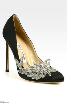 Manolo Blahnik Swan Embellished Satin Pumps (Accessories Show)