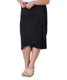 Another great find on #zulily! Black Wendy Wrap Skirt - Plus by Sealed With a Kiss Designs #zulilyfinds