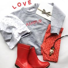 AMOUR means LOVE in French! Screenprinted on cotton + polyester fleece pullovers. Colour: Heather grey Designed and printed in Burnaby, B. Love In French, Fabric Bows, Modern Kids, Baby Bows, Girl Style, Beanies, Kids Wear, Kids Girls, Heather Grey