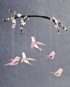 Bird Mobile--Hang this beautiful bird mobile above the crib and watch baby's imagination take flight.   Martha Stewart Baby Crafts