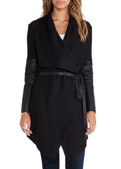 Solid Black Long Sleeve Woolen Coat for Lady - USD $25.63