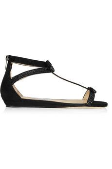 Jimmy Choo Sundown embellished suede sandals | NET-A-PORTER