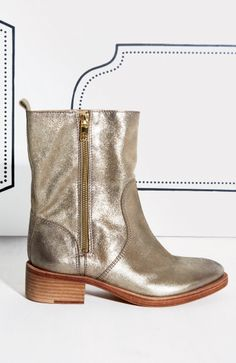 Metallic Tory Burch bootie. Cute party gear.