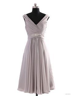 0ca1685e056 Cocomelody Sexy V-neck Beaded Short Chiffon Prom Dress 10 Grey