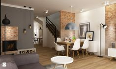 Modern dining room in Polish house Living Room Designs, Living Room Decor, Living Spaces, Dining Room, Living Room Inspiration, Home Decor Inspiration, Style At Home, Adams Homes, Apartment Interior