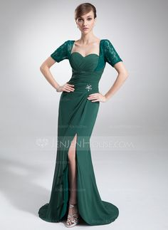 Mother+of+the+Bride+Dresses+-+$142.99+-+Trumpet/Mermaid+Sweetheart+Asymmetrical+Chiffon+Lace+Mother+of+the+Bride+Dress+With+Ruffle+Beading+Split+Front+(008005679)+http://jenjenhouse.com/Trumpet-Mermaid-Sweetheart-Asymmetrical-Chiffon-Lace-Mother-Of-The-Bride-Dress-With-Ruffle-Beading-Split-Front-008005679-g5679