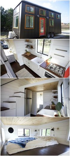 Texas Hill Country is an amazing tiny house built by Nomad Tiny Homes. The 24-foot tiny house consists of black board and batten siding, cedar window and door trim, a red full light front door, and a metal roof. The custom tiny home was built on a dual axle trailer with each axle rated at 5,200 lbs. Over the tongue of the trailer is a 9000 BTU mini-split / heat pump system.