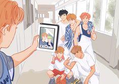 Typical of dreamies maknae line. Cover Wattpad, Ntc Dream, Drawn Art, Kpop Drawings, E Dawn, Dibujos Cute, Mark Nct, Jisung Nct, Na Jaemin