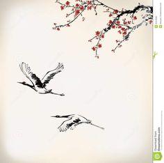 ink-winter-sweet-chinese-paint-wintersweet-birds-32410595.jpg (1310×1300)
