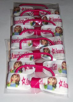 American Girl inspired party favors. 7 individually wrapped ponytail bows.