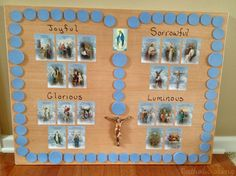 "How to make a Rosary board to use with kids. Move a Mary statue around to the different ""beads"" as you pray. Such a cute idea! ...and brilliant re the ""Jesus through Mary"" connection."