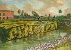 G.Pancaldi - Vita contadina, raccolto della canapa (1) metà '900 olio su tela 77x98