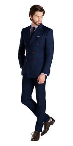 Rivington Dusk Blue Double-Breasted Suit | Black Lapel
